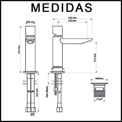 Medidas Grifo de Lavabo, Monomando Serpi 14 F3 MR
