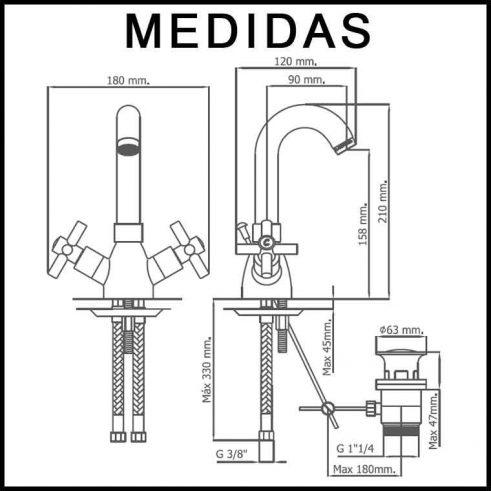 Medidas Grifo de Lavabo, Monobloc Caño Alto Cala MR