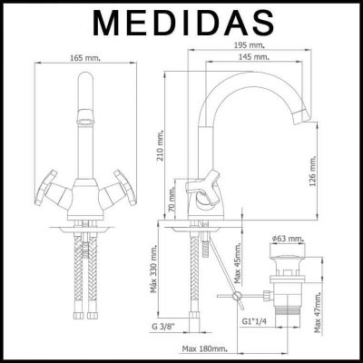 Medidas Grifo de Lavabo, Monobloc Caño Alto Marín MR
