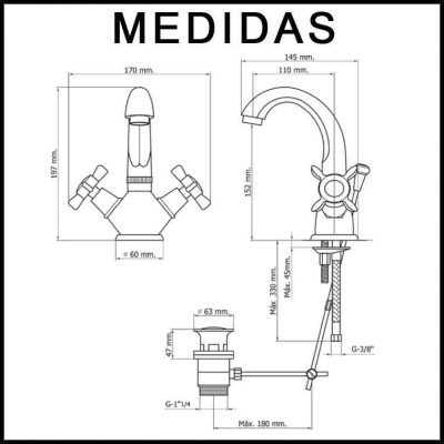 Medidas Grifo de Lavabo, Monobloc Caño Alto Parma Cris MR