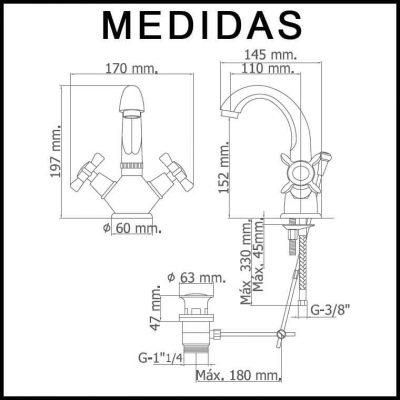 Medidas Grifo de Lavabo, Monobloc Caño Alto Parma MR