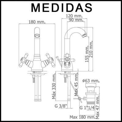 Medidas Grifo de Lavabo, Monobloc Caño Alto Pinta MR