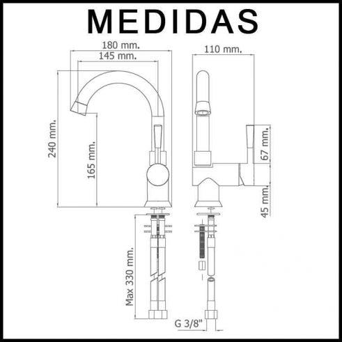 Medidas Grifo de Lavabo Caño Alto, Monomando Roda MR