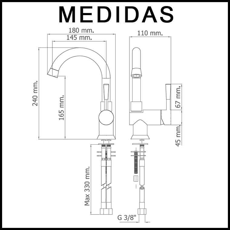 Medidas grifo de lavabo ca o alto monomando roda mr - Grifos de lavabo cano alto ...