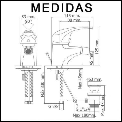 Medidas Grifo de Bide, Monomando Ecoaspe 11 MR, Cromo