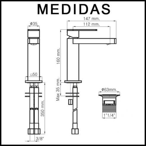 Medidas Grifo de Lavabo, Monomando Aran MR
