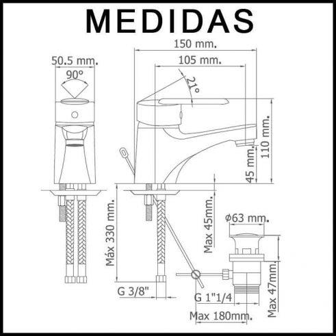 Medidas Grifo de Lavabo, Monomando Baza 07 MR