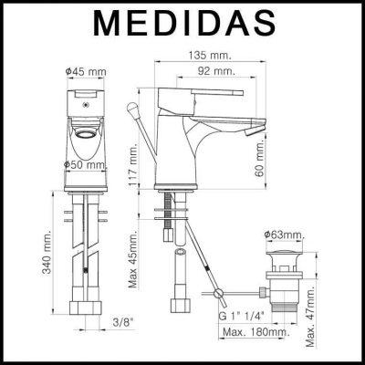 Medidas Grifo de Lavabo, Monomando Baza 15 MR