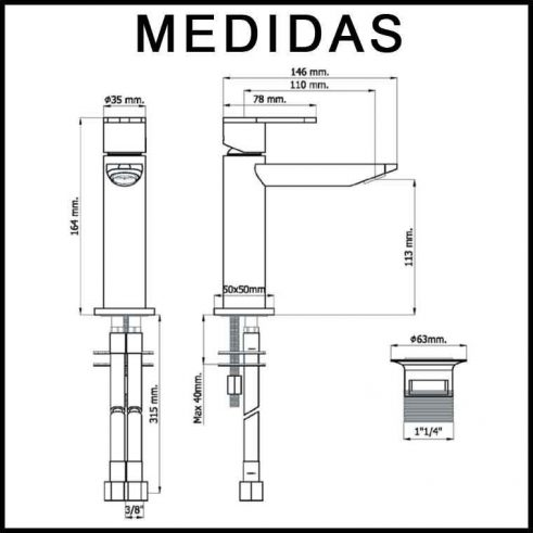 Medidas Grifo de Lavabo, Monomando Beret 14 MR