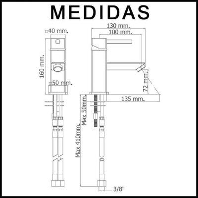 Medidas Grifo de Lavabo, Monomando Catral MR