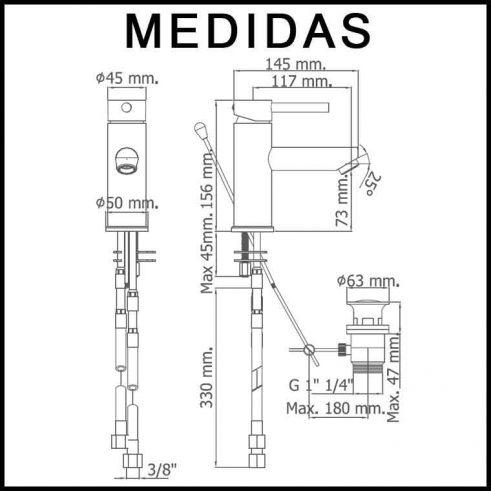 Medidas Grifo de Lavabo, Monomando Delta 06 MR