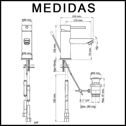 Medidas Grifo de Lavabo, Monomando Delta 13 MR