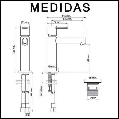 Medidas Grifo de Lavabo, Monomando Delta 14 MR