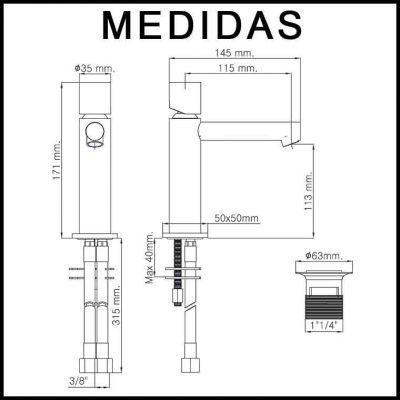 Medidas Grifo de Lavabo, Monomando Delta Cil MR