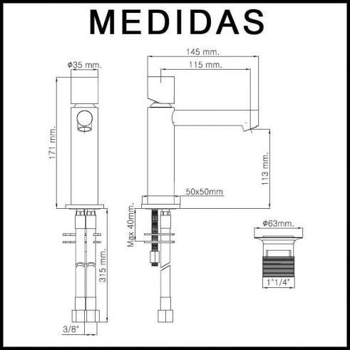 Medidas Grifo de Lavabo, Monomando Delta Cil F3 MR.