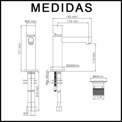 Medidas Grifo de Lavabo, Monomando Delta Cil F8 MR.