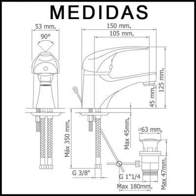 Medidas Grifo de Lavabo, Monomando Ecoaspe 11 MR