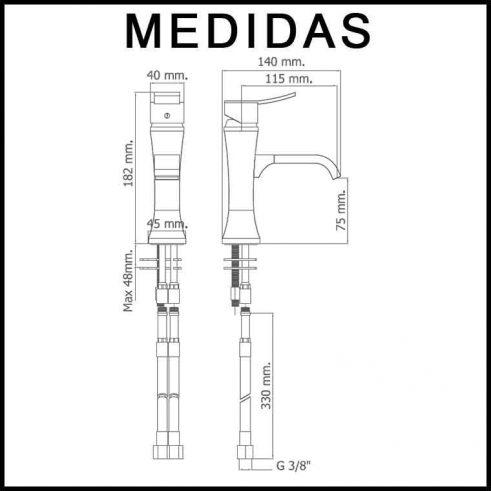 Medidas Grifo de Lavabo, Monomando Inca MR