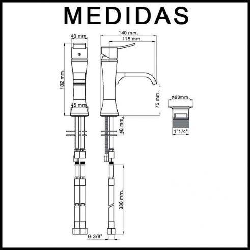 Medidas Grifo de Lavabo, Monomando Inca F8 MR
