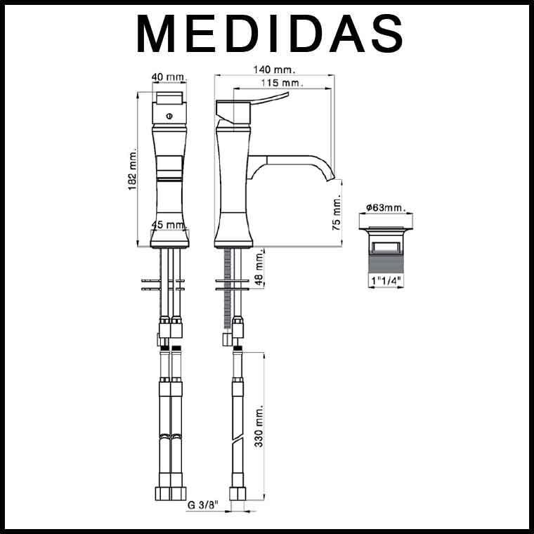 Medidas grifo de lavabo monomando inca f8 mr for Medidas lavabo