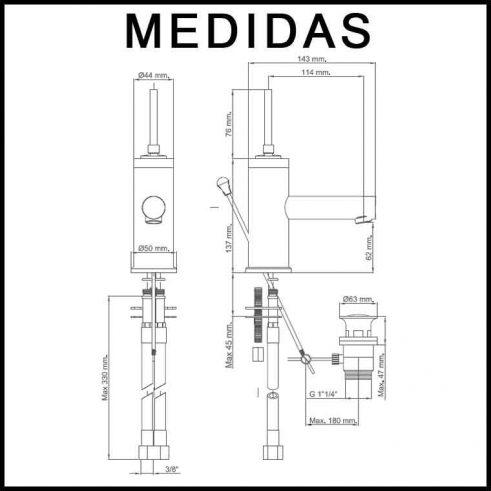 Medidas Grifo de Lavabo, Monomando Orba MR