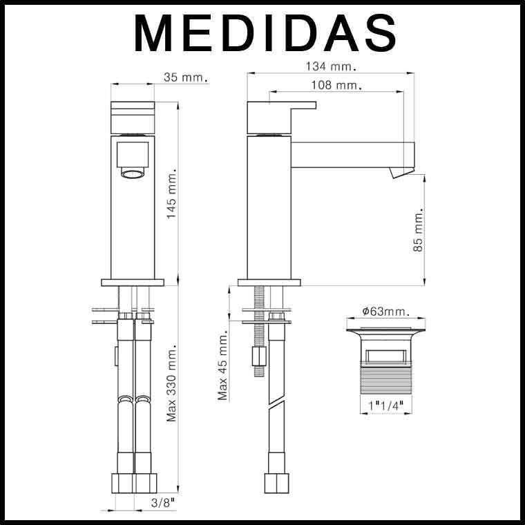 Medidas grifo de lavabo monomando petra mr grifolandia for Medidas lavabo
