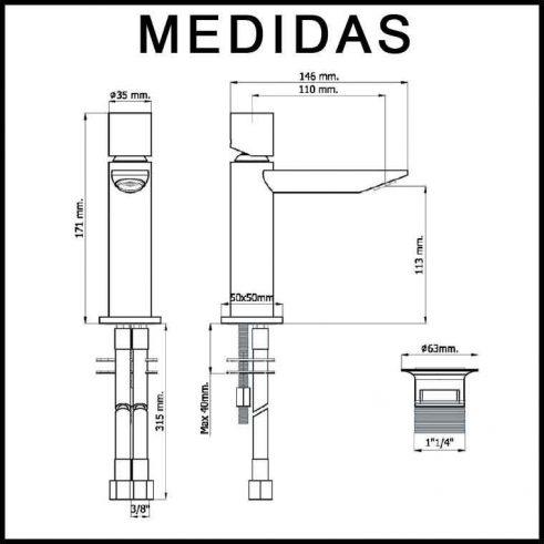 Medidas Grifo de Lavabo, Monomando Serpi 14 F8 MR.