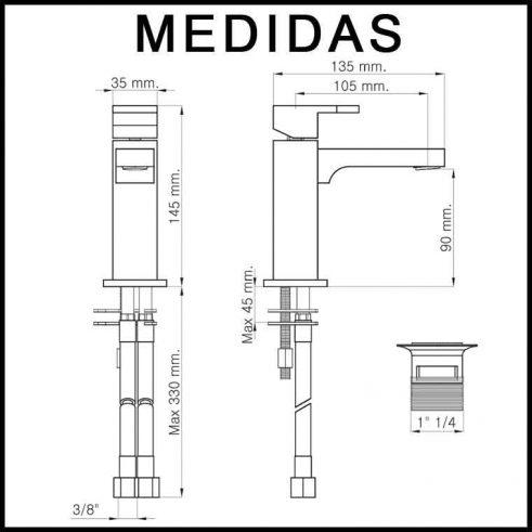 Medidas Grifo de Lavabo, Monomando Vera MR