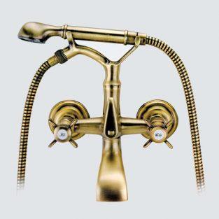 Grifo de Baño Lux, Monobloc con Accesorios de Ducha Parma MR