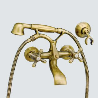 Grifo de Baño Lux, Monobloc con Accesorios de Ducha Pinta MR,Laton Viejo