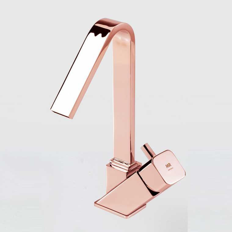 Grifo de lavabo monomando ca o alto catral mr oro rosa - Grifos de lavabo cano alto ...