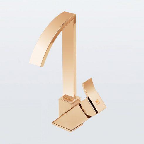 Grifo de Lavabo, Monomando Caño Alto Inca de la marca Griferias MR, Oro