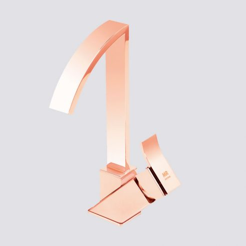 Grifo de Lavabo, Monomando Caño Alto Inca de la marca Griferias MR, Oro Rosa