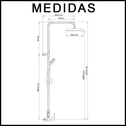Medidas Equipo de Ducha, Monomando con Accesorios de Ducha Baza 07 MR
