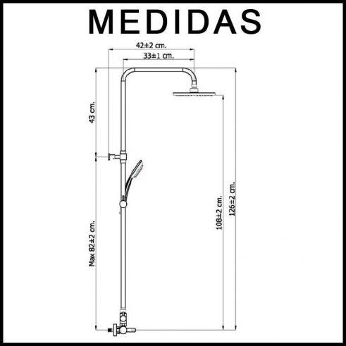 Medidas Equipo de Ducha, Monomando con Accesorios de Ducha Beret 17 MR, Cromo
