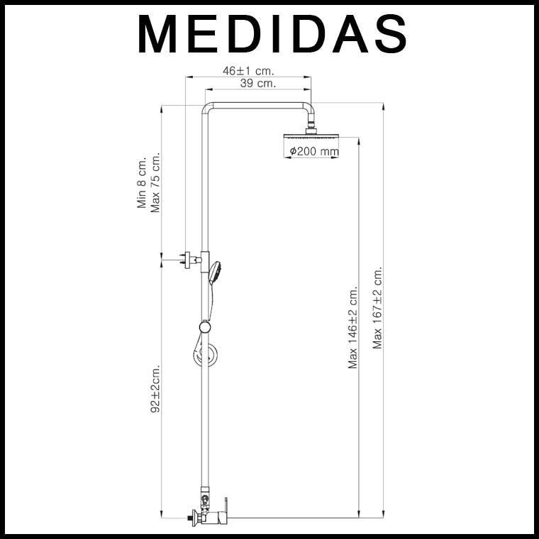 Medidas equipo de ducha mix con inversor cromo monomando for Medidas de una ducha