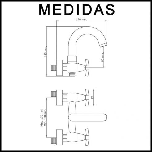 Medidas Grifo de Baño, Monobloc con Accesorios de Ducha Marín MR, Cromo