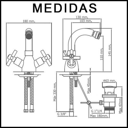 Medidas Grifo de Bide, Monobloc Caño Alto Cala MR, Crono