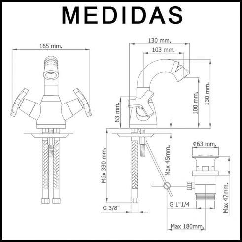 Medidas Grifo de Bide, Monobloc Caño Alto Marín MR,Cromo