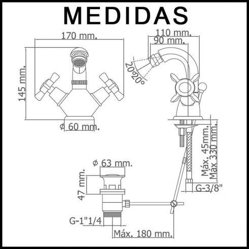 Medidas Grifo de Bide, Monobloc Caño Alto Parma MR, Crono-Oro