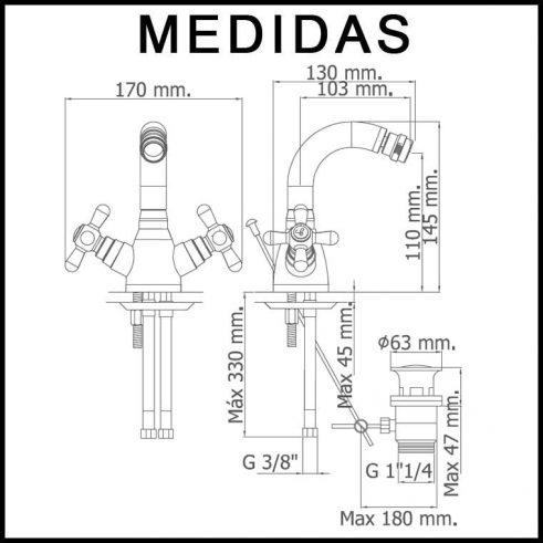Medidas Grifo de Bide, Monobloc Caño Alto Pinta MR