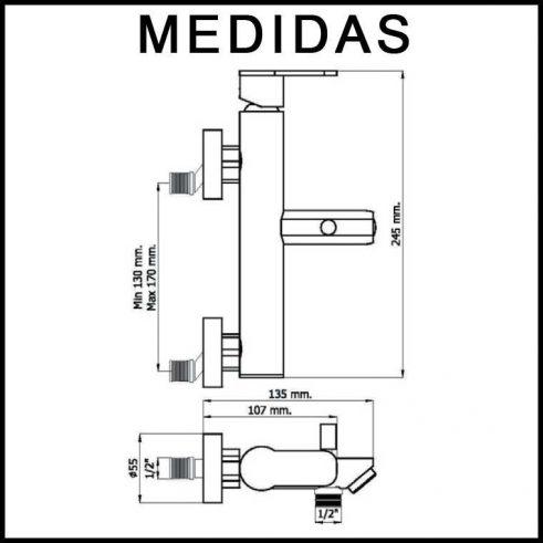 Medidas Grifo de Baño, Monomando con Accesorios de ducha Beret 14 MR