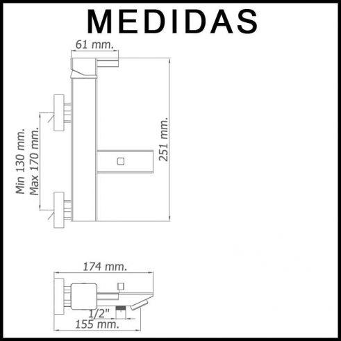 Medidas Grifo de Baño, Monomando con Accesorios de Ducha Catral MR