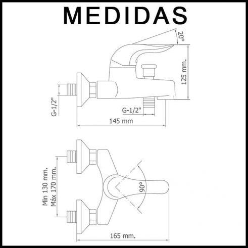 Medidas Grifo de Baño, Monomando con Accesorios de Ducha Lodi MR, Cromo