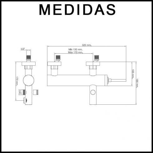 Medidas Grifo de Baño, Monomando con Accesorios de Ducha Orba MR, Cromo