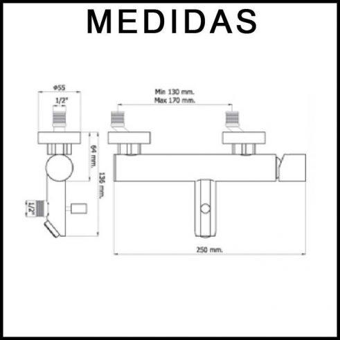 Medidas Grifo de Baño, Monomando con Accesorios de Ducha Serpi 14 MR, Cromo