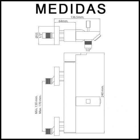 Medidas Grifo de Baño, Monomando con Accesorios Ducha Vera MR