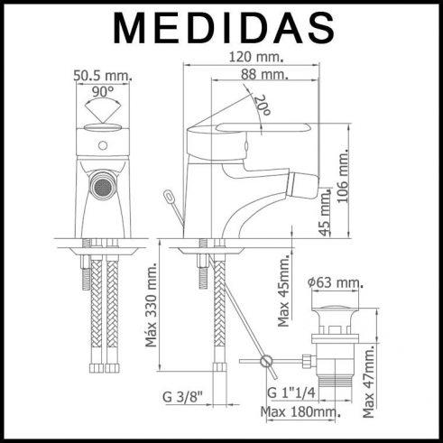 Medidas Grifo de Bide, Monomando Baza 07 MR, Cromo