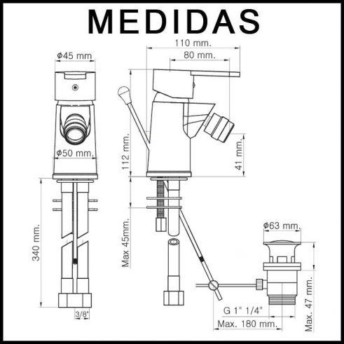 Medidas Grifo de Bide, Monomando Baza 15 MR,Cromo