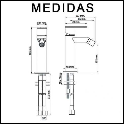 Medidas Grifo de Bide, Monomando Beret 17 MR, Cromo